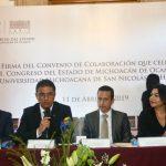 Firma de Convenio de Colaboración entre la UMSNH y el Congreso de Michoacán 2