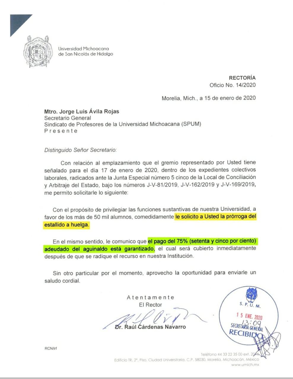 Oficio dirigido por el Rector de la UMSNH, al Sindicato de Profesores de la Universidad Michoacana