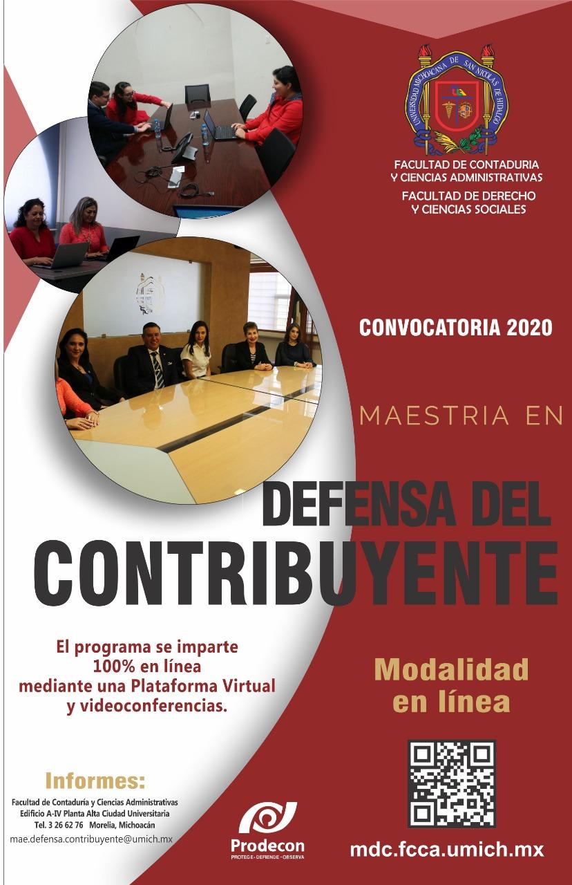 Maestría en Defensa del Contribuyente   FCCA - UMSNH   Convocatoria 2020