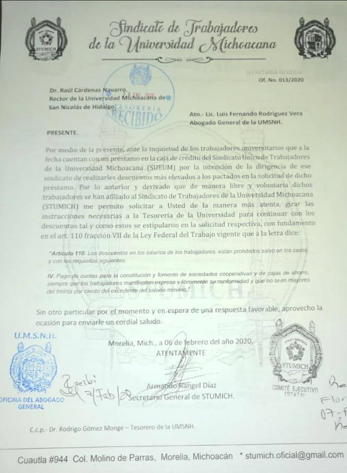 Oficio del Sindicato de Trabajadores de la Universidad Michoacana