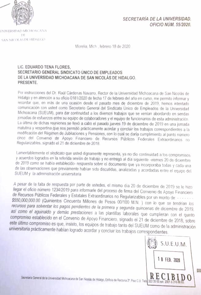 Oficio del Secretario General de la UMSNH, Lic. Pedro Mata, señalando la falta de cumplimiento del SUEUM a las reuniones sostenidas y la suspensión del diálogo por parte del sindicato universitario.