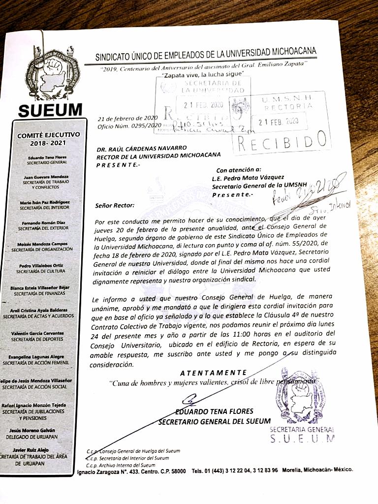 """El SUEUM, por conducto de su secretario general determina """"a mutuo propio"""" cuándo se dará el """"diálogo"""""""