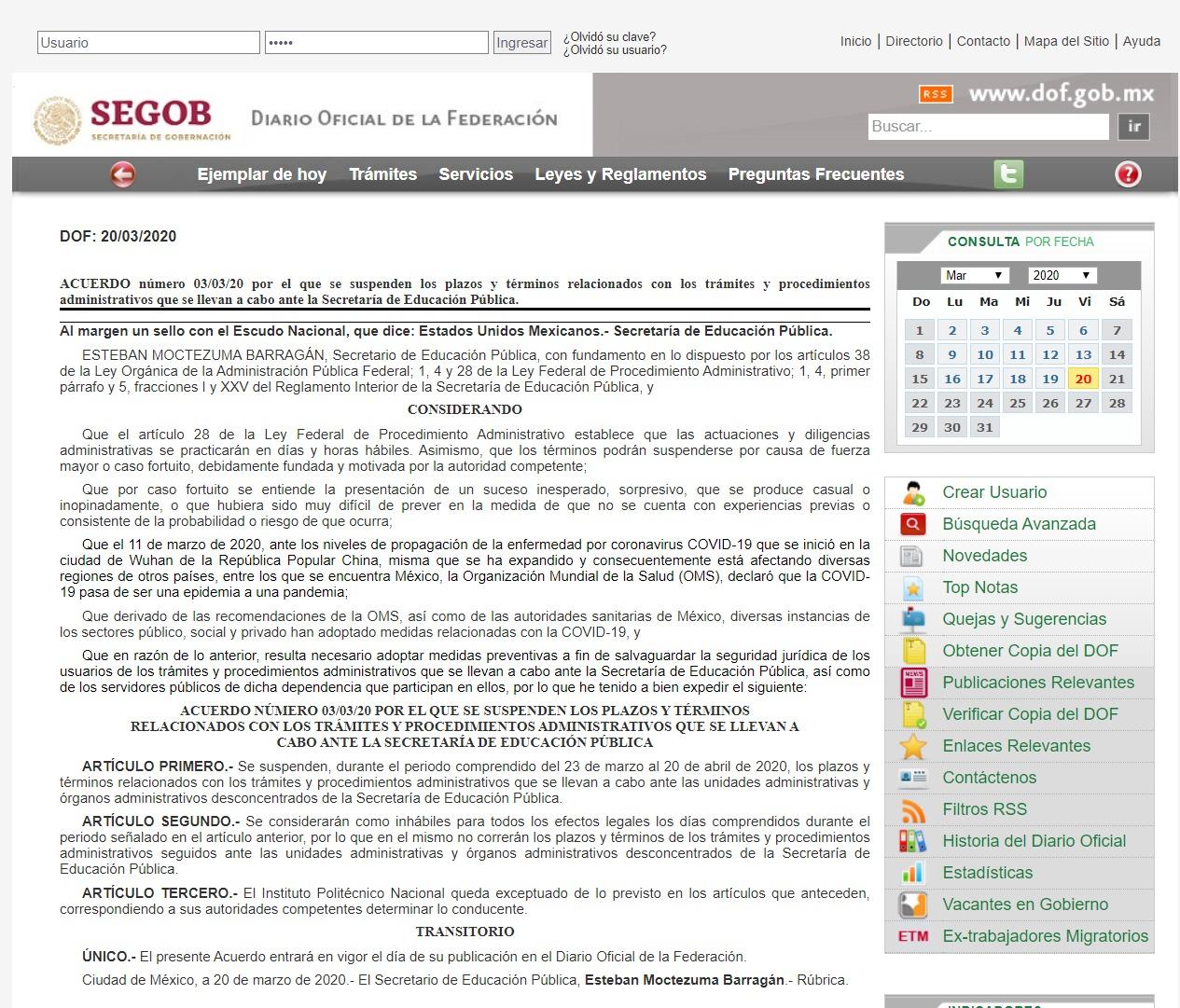 Acuerdo de la SEP publicado en el Diario Oficial de la Federación.
