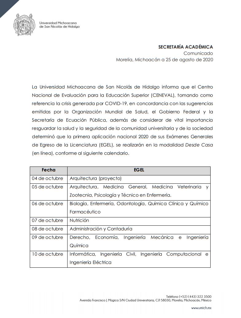 Oficio de la secretaría académica de la UMSNH informando sobre la reprogramación del examen CENEVAL