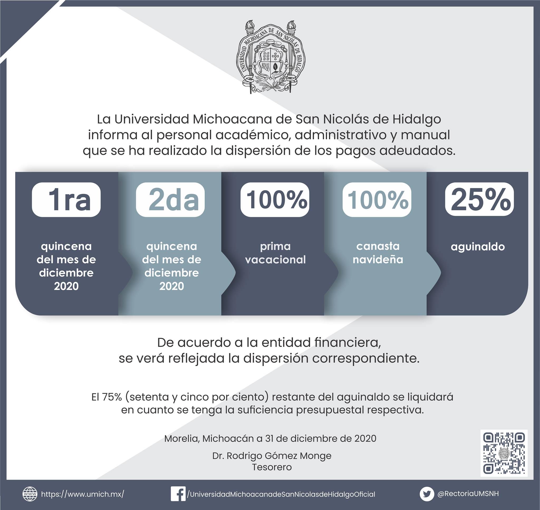 La Universidad Michoacana ha procedido a pagar adeudos del 2020 a trabajadores académicos y administrativos