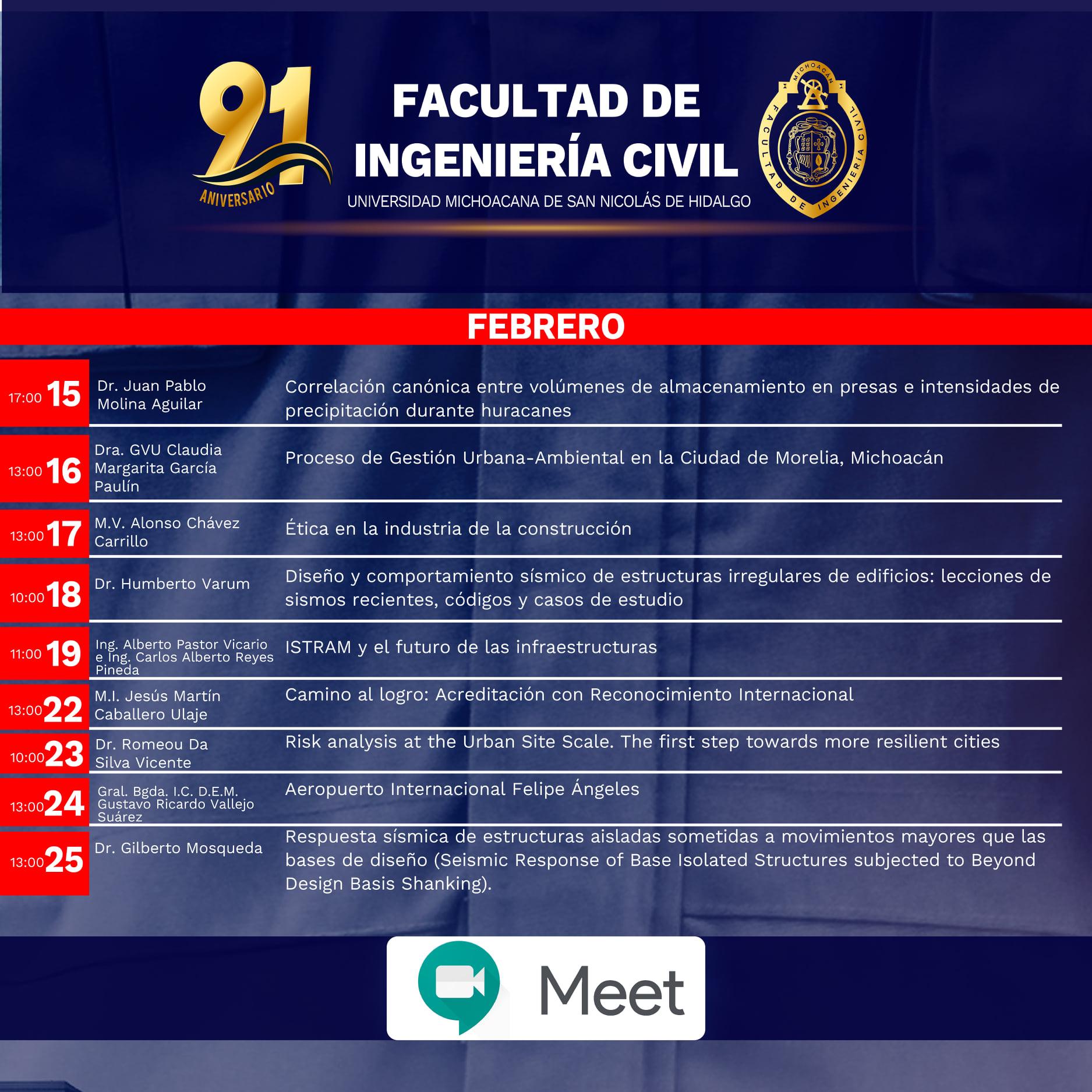 Ciclo de Conferencias académicas de la Facultad de Ingeniería Civil con motivo de XCI aniversario.