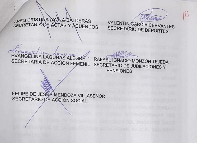 integrantes de las carteras sindicales, que han sido rescindidos en la UMSNH y no aparecen el padrón del propio SUEUM.