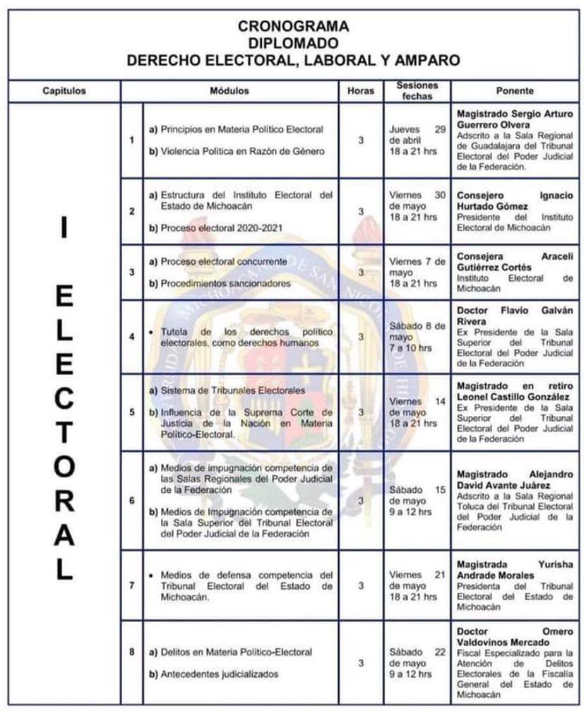 Diplomado en Derecho Electoral, Laboral y Amparo en la FDCS - UMSNH - Modulo de Derecho Electoral