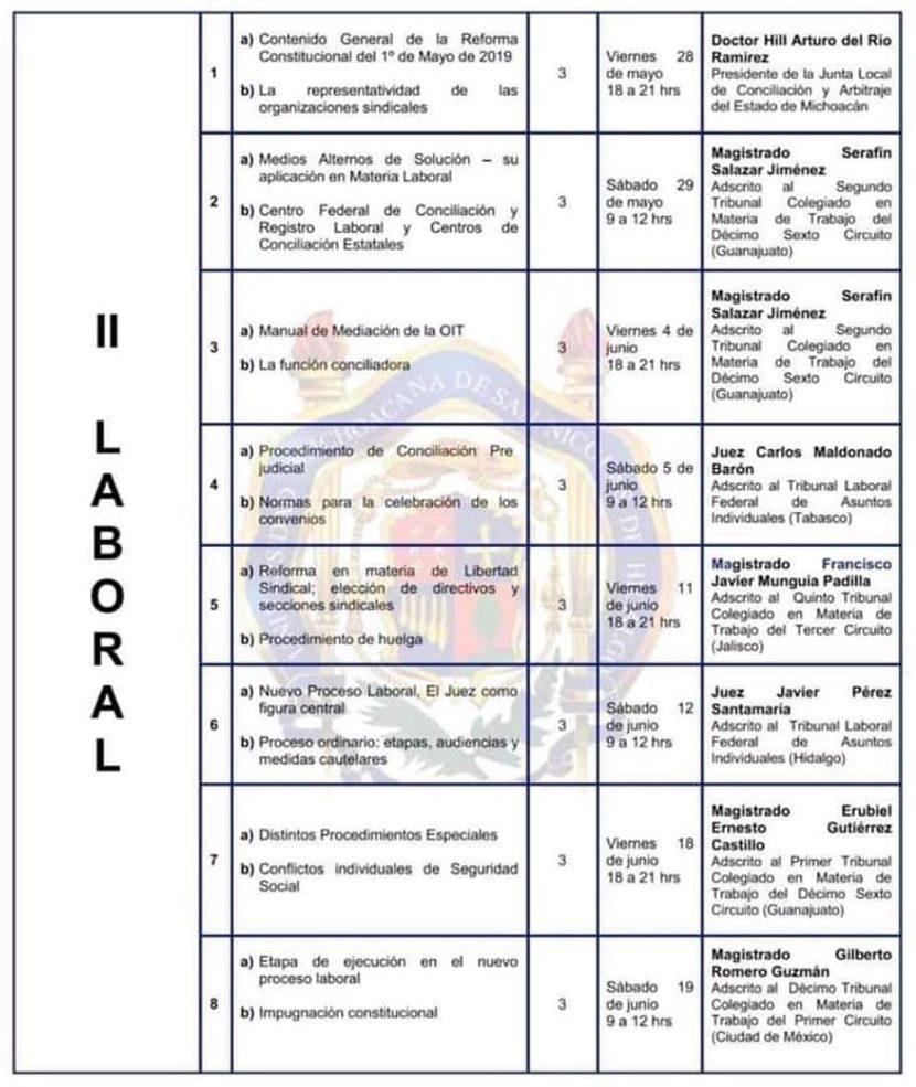 Diplomado en Derecho Electoral, Laboral y Amparo en la FDCS - UMSNH - Modulo de Derecho Laboral