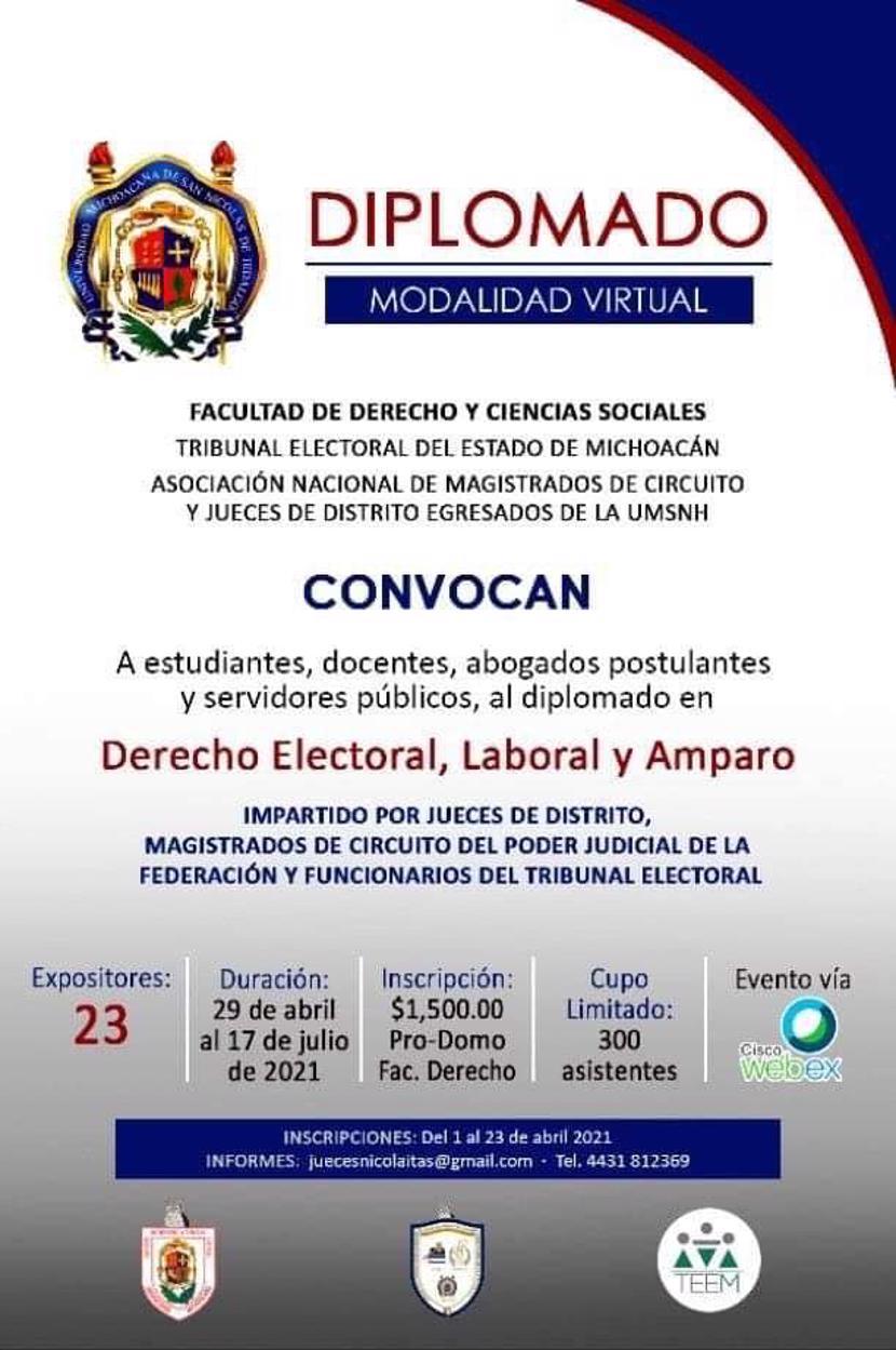 Diplomado en Derecho Electoral, Laboral y Amparo en la FDCS - UMSNH