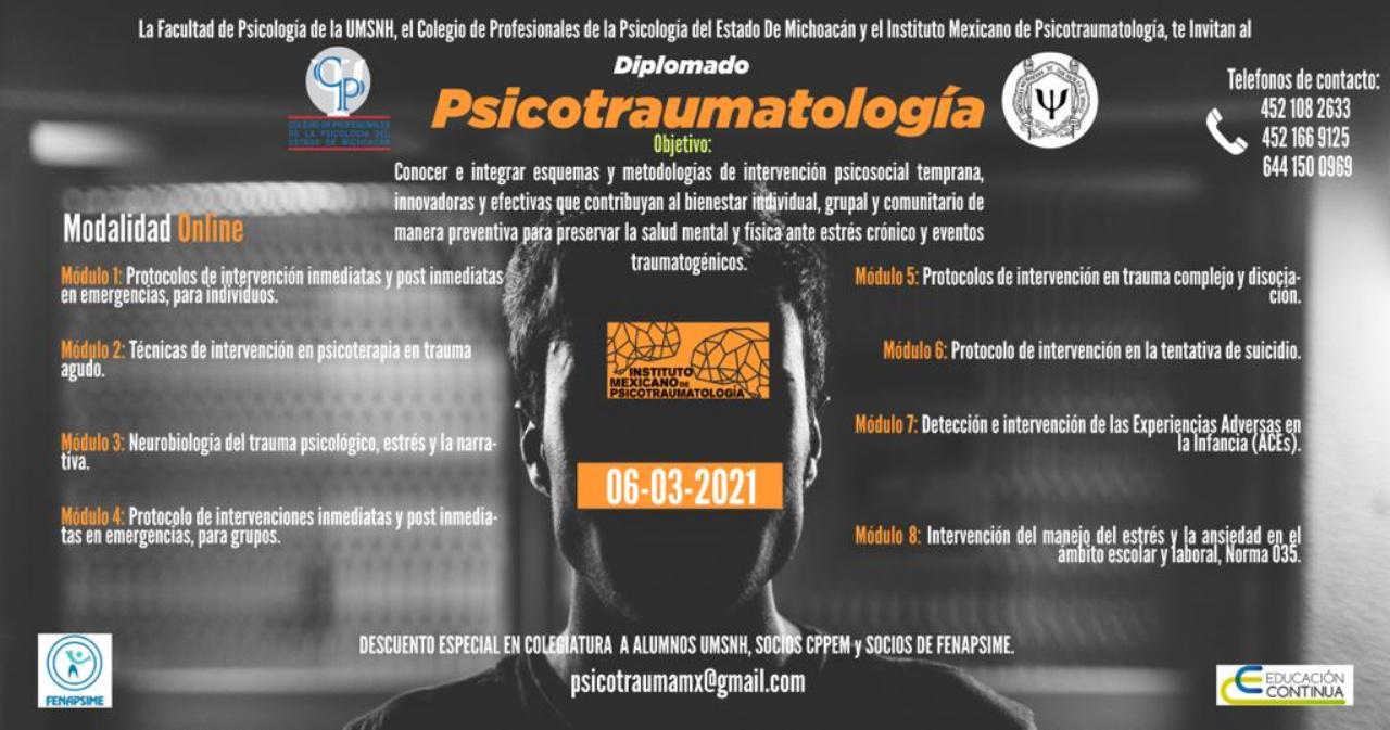 Diplomado en Psicotraumatología ofrecido por la Facultad de Psicología de la UMSNH