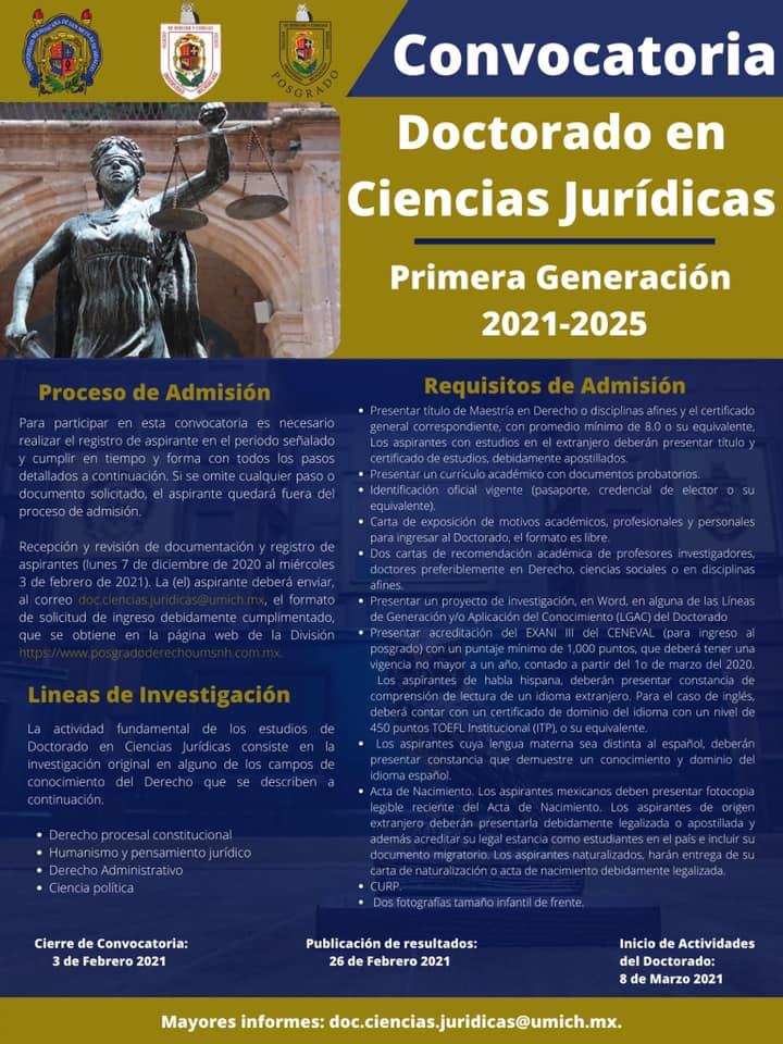 Convocatoria para el Doctorado en Ciencias Jurídicas de la FDCS de la, UMSNH