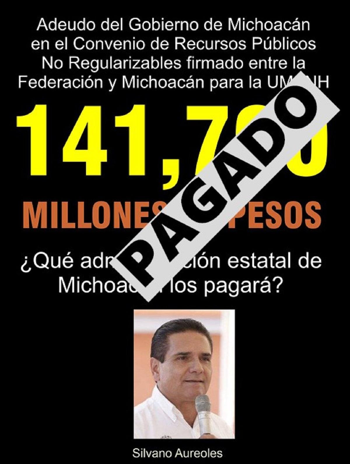 Pagó el Gobierno del Estado de Michoacán su parte del Convenio de Recursos Públicos No Regularizables de diciembre del 2020